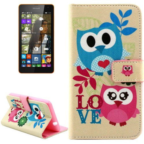 For Lumia 535 Lovely Owl Pattern Leather Case with Holder, Card Slots & Wallet
