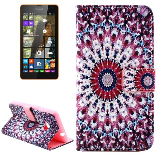 For Lumia 535 Peacock Pattern Leather Case with Holder, Card Slots & Wallet