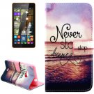 For Lumia 535 Sea Pattern Leather Case with Holder, Card Slots & Wallet