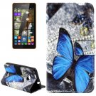 For Lumia 535 Butterfly Pattern Leather Case with Holder, Card Slots & Wallet