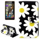 For Lumia 535 Daisy Pattern Leather Case with Holder, Card Slots & Wallet