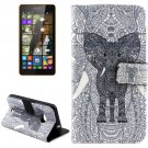 For Lumia 535 Elephant Pattern Leather Case with Holder, Card Slots & Wallet