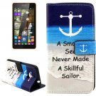 For Lumia 535 Anchor Pattern Leather Case with Holder, Card Slots & Wallet