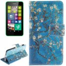 For Lumia 630 Plum Pattern Leather Case with Holder, Card Slots & Wallet