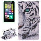 For Lumia 630 Tiger Pattern Leather Case with Holder, Card Slots & Wallet