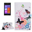 For Lumia 925 Butterfly Pattern Leather Case with Holder, Card Slots & Wallet