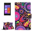 For Lumia 925 Acaleph Pattern Leather Case with Holder, Card Slots & Wallet