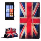 For Lumia 720 UK Flag Pattern Leather Case with Holder, Card Slots & Wallet