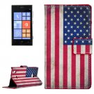 For Lumia 720 US Flag Pattern Leather Case with Holder, Card Slots & Wallet