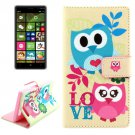 For Lumia 830 Cartoon Pattern Cross Leather Case with Holder & Card Slots