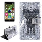 For Lumia 830 Elephant Pattern Cross Leather Case with Holder & Card Slots