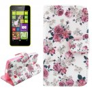 For Lumia 630 Flower Pattern Cross Leather Case with Holder & Card Slots