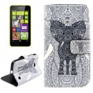 For Lumia 630 Elephant Pattern Cross Leather Case with Holder & Card Slots