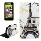 For Lumia 630 Eiffel Tower Pattern Cross Leather Case with Holder & Card Slots