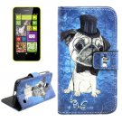 For Lumia 630 Dog Pattern Cross Leather Case with Holder & Card Slots