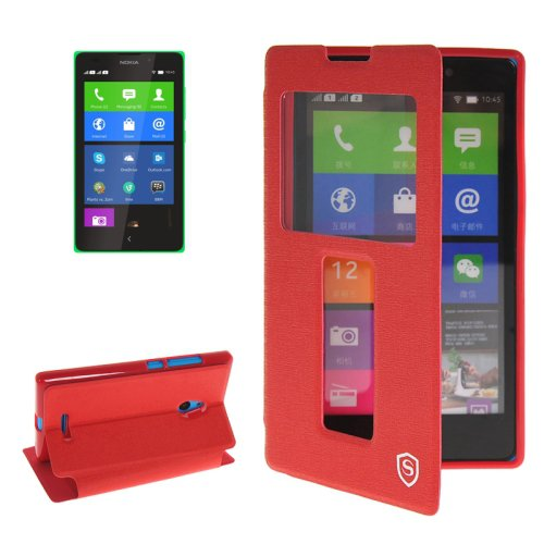 For Lumia XL Red Flip Leather Case with Call Display ID & Holder