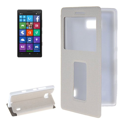 For Lumia 930 White Flip Leather Case with Call Display ID & Holder