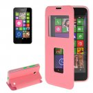 For Lumia 630 Pink Flip Leather Case with Call Display ID & Holder