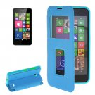 For Lumia 630 Blue Flip Leather Case with Call Display ID & Holder
