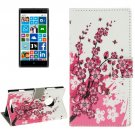 For Lumia 830 Blossom Pattern Leather Case with Holder, Card Slots & Wallet