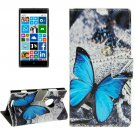 For Lumia 830 Butterfly Pattern Leather Case with Holder, Card Slots & Wallet