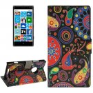 For Lumia 830 Acaleph Pattern Leather Case with Holder, Card Slots & Wallet