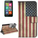 For Lumia 530 US Flag Pattern Leather Case with Holder, Card Slots & Wallet