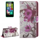 For Lumia 630 Flowers Pattern Flip Leather Case with Holder & Card Slots