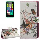 For Lumia 630 Butterfly Pattern Flip Leather Case with Holder & Card Slots