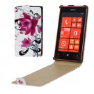 For Lumia 520 Purple Flowers Pattern Vertical Flip Leather Case