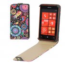 For Lumia 520 Flowers Pattern Vertical Flip Leather Case