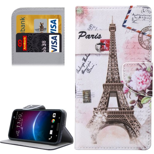 For HTC M10 Eiffel Pattern Leather Case with Holder, Card Slots & Wallet