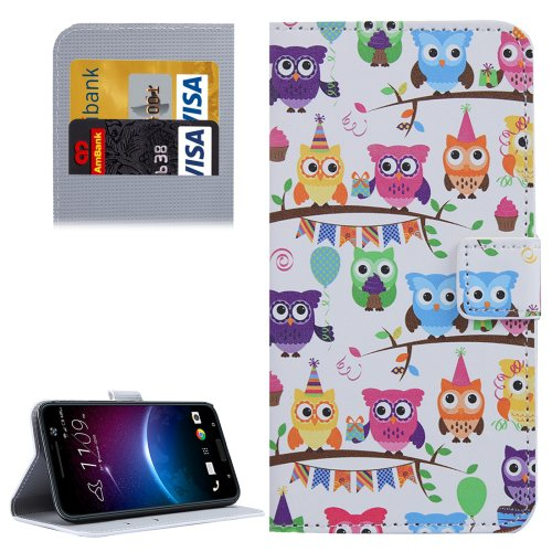 For HTC M10 Owls Pattern Leather Case with Holder, Card Slots & Wallet