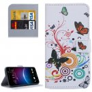 For HTC M10 Butterfly Pattern Leather Case with Holder, Card Slots & Wallet