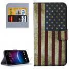 For HTC M10 US Flag Pattern Leather Case with Holder, Card Slots & Wallet
