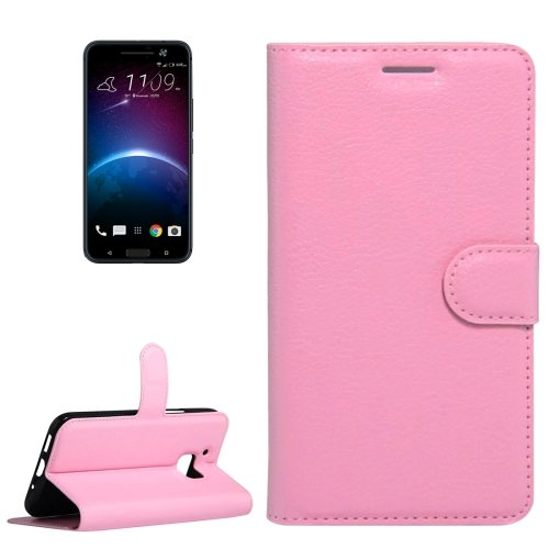 For HTC 10 Pink Litchi Flip Leather Case with Holder, Card Slots & Wallet