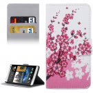 For HTC Desire 530 Blossom Pattern Leather Case with Holder, Card Slots & Wallet
