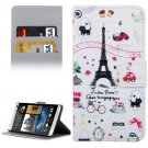 For HTC Desire 530 Tower Pattern Leather Case with Holder, Card Slots & Wallet