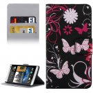 For HTC Desire 530 Flowers Pattern Leather Case with Holder, Card Slots & Wallet