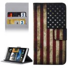 For HTC Desire 530 USA Flag Pattern Leather Case with Holder, Card Slots & Wallet