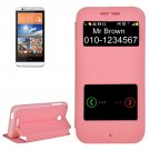 For HTC Desire 510 Pink Sand Flip Leather Case with Call Display ID & Holder