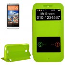 For HTC Desire 510 Green Sand Flip Leather Case with Call Display ID & Holder