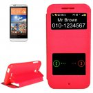 For HTC Desire 510 Magenta Sand Flip Leather Case with Call Display ID & Holder