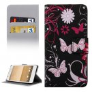 For HTC One A9 Flowers Pattern Leather Case with Holder, Card Slots & Wallet