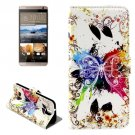 For HTC One E9+ Butterfly Pattern Leather Case with Holder, Card Slots & Wallet