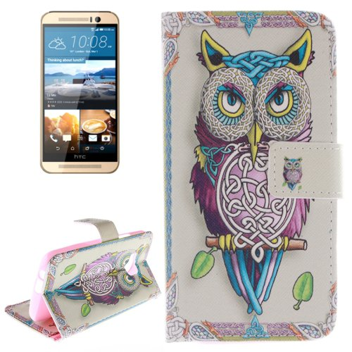 For HTC One M9 Owl 2 Pattern Leather Case with Holder, Card Slots & Wallet