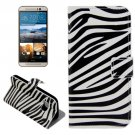 For HTC One M9 Zebra Pattern Leather Case with Holder, Card Slots & Wallet