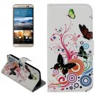 For HTC One M9 Butterfly Pattern Leather Case with Holder, Card Slots & Wallet