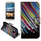 For HTC One M9 Star Pattern Leather Case with Holder, Card Slots & Wallet