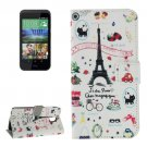 For HTC Desire 526G Scenery Pattern Leather Case with Holder, Card Slots & Wallet